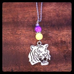 Yellow Purple Beaded Tiger Necklace LSU Tigers New